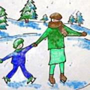 Skating With Mom Art Print