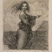 Sketch Of A Young Woman After Leonardo Art Print