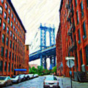 Sketch Of Dumbo Neighborhood In Brooklyn Art Print