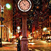 Sketch Of Midtown Clock In The Snow Art Print