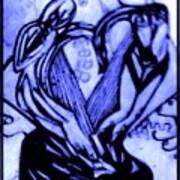 Sketch Of Statue In Blue Art Print