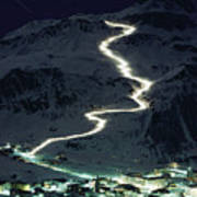 Skiers Bearing Torches Ski Down Mont Art Print