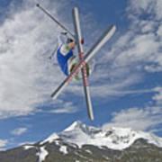 Skiing Aerial Maneuvers Off A Jump Art Print by Gordon Wiltsie