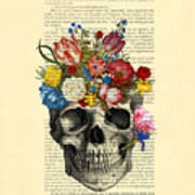 Skull With Flowers Vintage Illustration Art Print