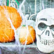 Skull And Pumpkin Art Print