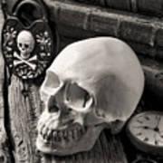 Skull And Skeleton Key Art Print