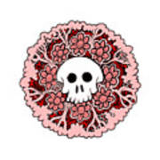 Skull Mandala Pink Art Print