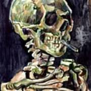 Skull Of A Skeleton With Burning Cigarette Art Print