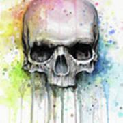Skull Watercolor Rainbow Art Print