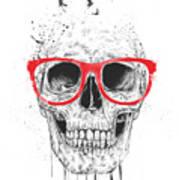 Skull With Red Glasses Art Print