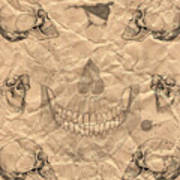 Skulls In Grunge Style Art Print