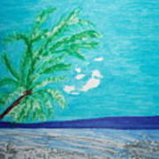Sky Blue Palm Tree Beach Art Print