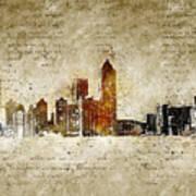 skyline of Atlanta in modern and abstract vintage-look Art Print