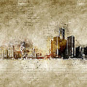 skyline of Detroit in modern and abstract vintage-look Art Print