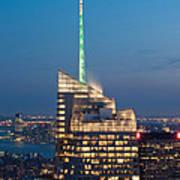 Skyscraper Lit Up At Night, One World Art Print