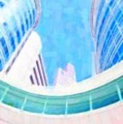 Skyscrapers Against Blue Sky Art Print