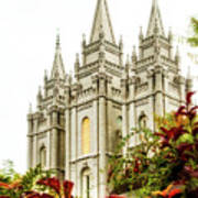 Slc Temple Angle Art Print by La Rae  Roberts