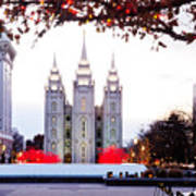 Slc Temple Red And White Art Print