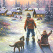 Sledding To The Village Art Print