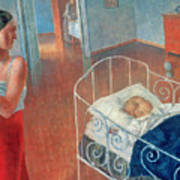 Sleeping Child Art Print by Kuzma Sergeevich Petrov Vodkin