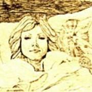 Sleepy Girl Friend On A Cat Pillow Art Print by Sheri Buchheit