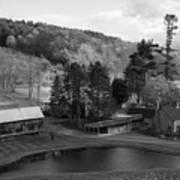 Sleepy Hollows Farm Woodstock Vermont Vt Pond Black And White Art Print