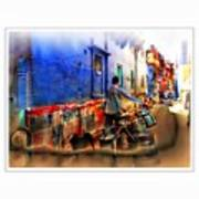 Slice Of Life Milkman Blue City Houses India Rajasthan 1a Art Print