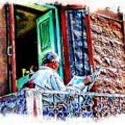 Slice Of Life Sunny Sunday Morning Newspaper India Rajasthan Udaipur 2a Art Print