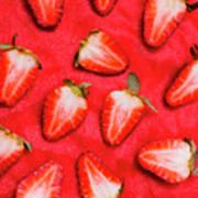 Sliced Red Strawberry Background Art Print