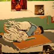 Slleeping outdoors and children Art Print
