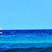 Sloop Sailing On Blue Art Print