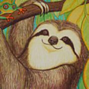 Sloth And Frog Art Print by Nick Gustafson