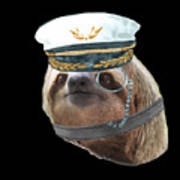 Sloth Monacle Captain Hat Sloths In Clothes Art Print