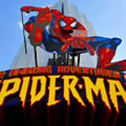 Spider Man Ride Sign.  Art Print