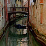 Small Boat on Canal in Venice for Vrooman Art Print