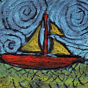 Small Boat With Yellow Sail Art Print