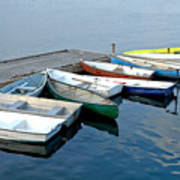 Small Boats Docked To A Pier Art Print