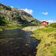 Small Red Cabin In Norway Art Print