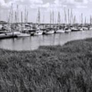 Small Sailboat Harbor Monochrome  Art Print
