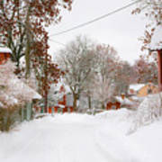 Small Village In Sweden In Lots Of Snow Art Print