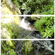 Small Waterfall Smoky Mountains Triptych Art Print