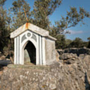 Small White Chapel On A Stone Wall Near Cres Art Print