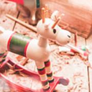 Small Xmas Reindeer On Wood Shavings In Workshop Art Print