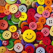 Smiley Face Button Art Print