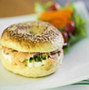 Smoked Salmon And Cream Cheese Bagel Art Print