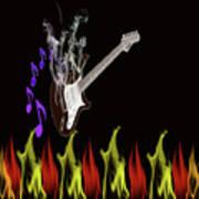 Smoking Guitar Art Print