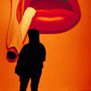 Smoking Lips Art Print