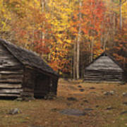 Smoky Mountain Cabins At Autumn Art Print by Andrew Soundarajan