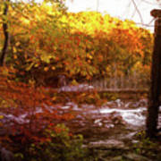 Smoky Mountain Suspension Bridge Oil Painting Art Print