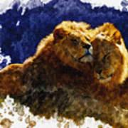 Smooching Lions Art Print